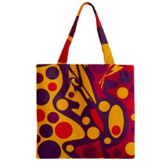 Colorful Chaos Zipper Grocery Tote Bag by Valentinaart