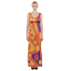 Orange And Blue Decor Maxi Thigh Split Dress by Valentinaart