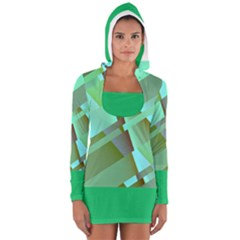 Retro Pastel Green Modern Abstract Women s Long Sleeve Hooded T Shirt by tjustleft