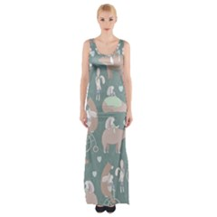 Bear Ruding Unicycle Unique Pop Art All Over Print Maxi Thigh Split Dress