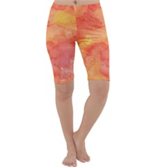 Watercolor Yellow Fall Autumn Real Paint Texture Artists Cropped Leggings