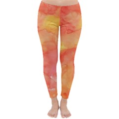 Watercolor Yellow Fall Autumn Real Paint Texture Artists Winter Leggings  by CraftyLittleNodes