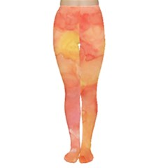 Watercolor Yellow Fall Autumn Real Paint Texture Artists Women s Tights by CraftyLittleNodes