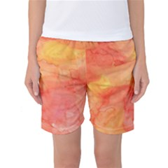 Watercolor Yellow Fall Autumn Real Paint Texture Artists Women s Basketball Shorts by CraftyLittleNodes