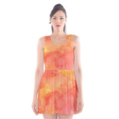 Watercolor Yellow Fall Autumn Real Paint Texture Artists Scoop Neck Skater Dress
