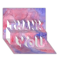 Galaxy Cotton Candy Pink And Blue Watercolor  Thank You 3d Greeting Card (7x5)