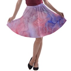 Galaxy Cotton Candy Pink And Blue Watercolor  A-line Skater Skirt by CraftyLittleNodes