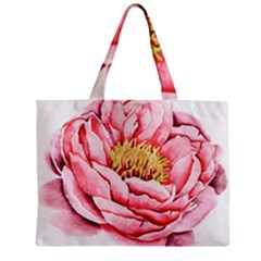 Large Flower Floral Pink Girly Graphic Zipper Mini Tote Bag by CraftyLittleNodes