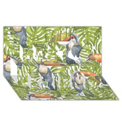 Tropical Print Leaves Birds Toucans Toucan Large Print Best Friends 3d Greeting Card (8x4) by CraftyLittleNodes