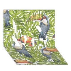 Tropical Print Leaves Birds Toucans Toucan Large Print Love 3d Greeting Card (7x5) by CraftyLittleNodes