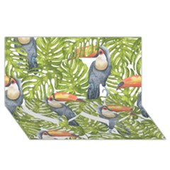 Tropical Print Leaves Birds Toucans Toucan Large Print Twin Heart Bottom 3d Greeting Card (8x4) by CraftyLittleNodes