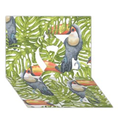Tropical Print Leaves Birds Toucans Toucan Large Print Ribbon 3d Greeting Card (7x5) by CraftyLittleNodes