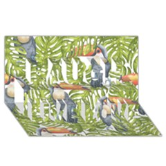 Tropical Print Leaves Birds Toucans Toucan Large Print Laugh Live Love 3d Greeting Card (8x4) by CraftyLittleNodes