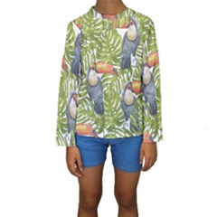 Tropical Print Leaves Birds Toucans Toucan Large Print Kid s Long Sleeve Swimwear