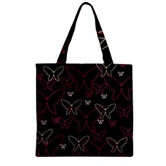Pink Neon Butterflies Zipper Grocery Tote Bag by Valentinaart