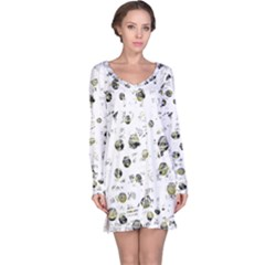 White And Yellow Soul Long Sleeve Nightdress