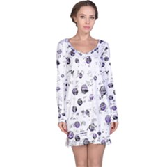 White And Blue Soul Long Sleeve Nightdress
