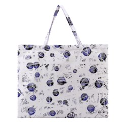 White And Deep Blue Soul Zipper Large Tote Bag by Valentinaart