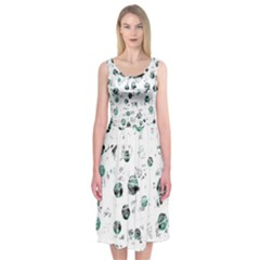 White And Green Soul Midi Sleeveless Dress by Valentinaart