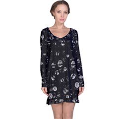 Black And Gray Soul Long Sleeve Nightdress