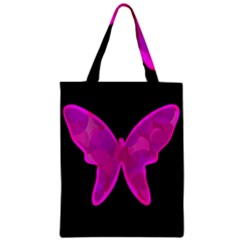 Purple Butterfly Zipper Classic Tote Bag by Valentinaart