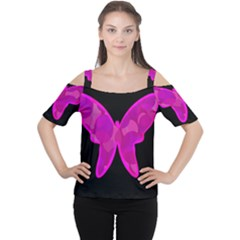 Purple Butterfly Women s Cutout Shoulder Tee by Valentinaart