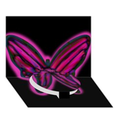 Purple Neon Butterfly Circle Bottom 3d Greeting Card (7x5) by Valentinaart