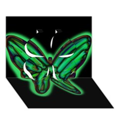 Green Neon Butterfly Clover 3d Greeting Card (7x5)