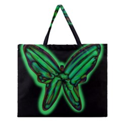 Green Neon Butterfly Zipper Large Tote Bag by Valentinaart