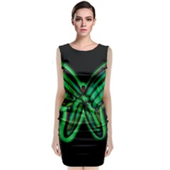 Green Neon Butterfly Classic Sleeveless Midi Dress by Valentinaart
