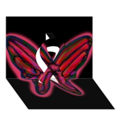 Red Butterfly Ribbon 3d Greeting Card (7x5) by Valentinaart