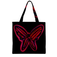 Red Butterfly Zipper Grocery Tote Bag by Valentinaart