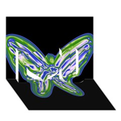 Green Neon Butterfly I Love You 3d Greeting Card (7x5)