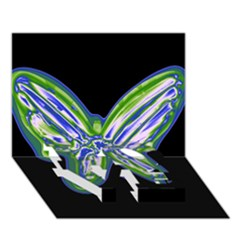 Green Neon Butterfly Love Bottom 3d Greeting Card (7x5) by Valentinaart