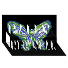 Green Neon Butterfly Happy New Year 3d Greeting Card (8x4) by Valentinaart