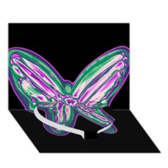 Neon Butterfly Heart Bottom 3d Greeting Card (7x5)