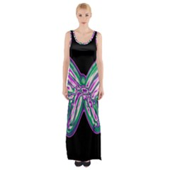 Neon Butterfly Maxi Thigh Split Dress