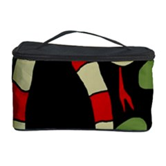 Red Cartoon Snake Cosmetic Storage Case by Valentinaart