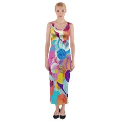 Anemones Fitted Maxi Dress by DanaeStudio