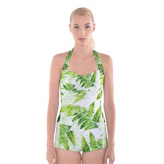 Fern Leaves Boyleg Halter Swimsuit  by DanaeStudio
