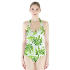 Fern Leaves Halter Swimsuit by DanaeStudio