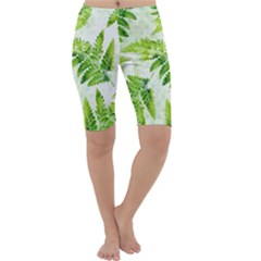 Fern Leaves Cropped Leggings  by DanaeStudio
