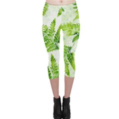 Fern Leaves Capri Leggings  by DanaeStudio