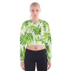 Fern Leaves Women s Cropped Sweatshirt by DanaeStudio