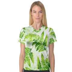 Fern Leaves Women s V Neck Sport Mesh Tee by DanaeStudio