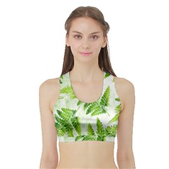 Fern Leaves Sports Bra With Border by DanaeStudio