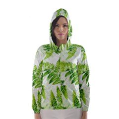 Fern Leaves Hooded Wind Breaker (women) by DanaeStudio