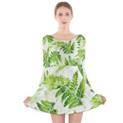 Fern Leaves Long Sleeve Velvet Skater Dress by DanaeStudio
