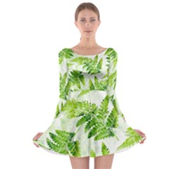 Fern Leaves Long Sleeve Skater Dress by DanaeStudio