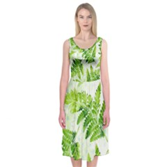 Fern Leaves Midi Sleeveless Dress by DanaeStudio